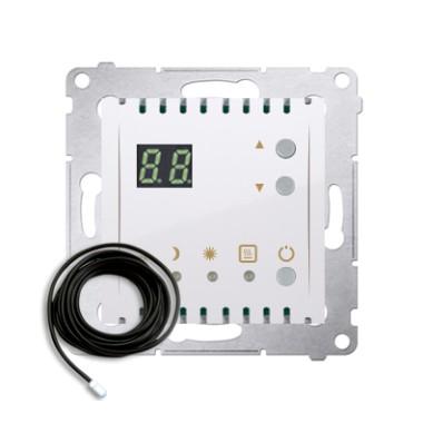 Regulator temperatury z wyświetlaczem z czujnikiem zewnętrznym (moduł) 16(2) A, 230V~, biały  *W komplecie czujnik zewnętrzny (s