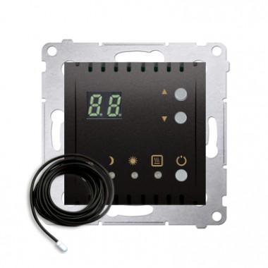 Regulator temperatury z wyświetlaczem z czujnikiem zewnętrznym (moduł) 16(2) A, 230V~, antracyt  *W komplecie czujnik zewnętrzny