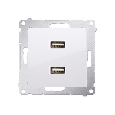 Ładowarka 2 x USB (moduł), 2.1 A, 5V DC, 230V, biały DC2USB.01/11