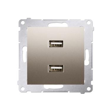 Ładowarka 2 x USB (moduł), 2.1 A, 5V DC, 230V, złoty mat DC2USB.01/44