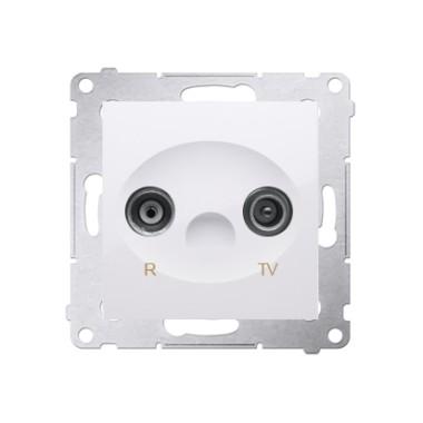 Gniazdo antenowe R-TV przelotowe (moduł), tłumienie TV i R  10 dB, biały DAP10.01/11