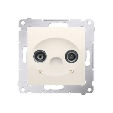 Gniazdo antenowe R-TV przelotowe (moduł), tłumienie TV i R  10 dB, krem DAP10.01/41