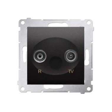 Gniazdo antenowe R-TV przelotowe (moduł), tłumienie TV i R  10 dB, antracyt DAP10.01/48