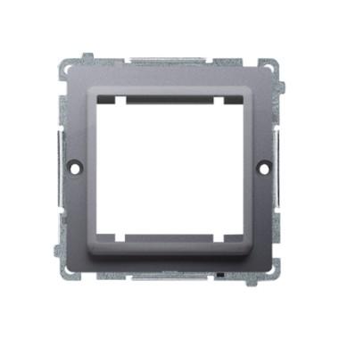Adapter (przejściówka) na osprzęt standardu 45 × 45 mm. Montaż do puszki na łapki i wkręty, srebrny mat BMA45M/43