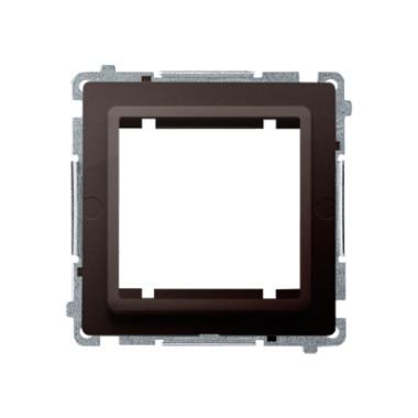 Adapter (przejściówka) na osprzęt standardu 45 × 45 mm. Montaż do puszki na łapki i wkręty, czekoladowy BMA45M/47