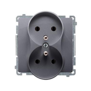 Gniazdo wtyczkowe podwójne z uziemieniem (moduł) ?16A ~  srebrny mat BMGZ2M.01/43