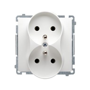 Gniazdo wtyczkowe podwójne z uziemieniem (moduł) z przesłonami torów prądowych ?16A ~  biały BMGZ2MZ.01/11