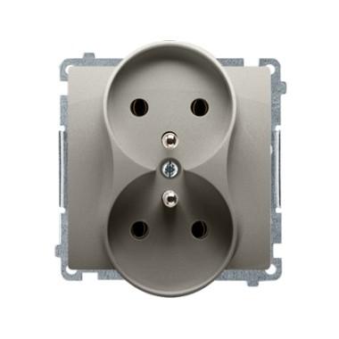 Gniazdo wtyczkowe podwójne z uziemieniem (moduł) z przesłonami torów prądowych ?16A ~  satynowy BMGZ2MZ.01/29