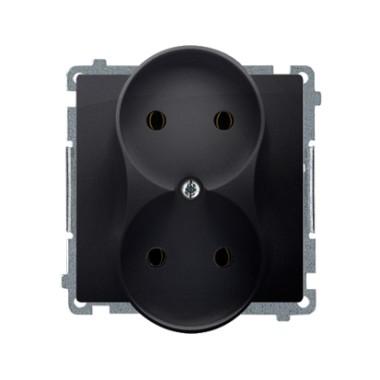 Gniazdo wtyczkowe podwójne bez uziemienia (moduł) ?16A ~  grafit matowy BMG2M.01/28