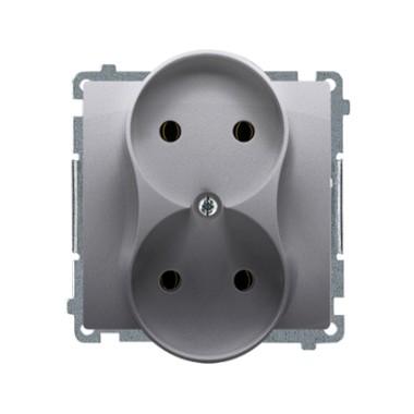 Gniazdo wtyczkowe podwójne bez uziemienia (moduł) z przesłonami torów prądowych ?16A ~  stal inox BMG2MZ.01/21