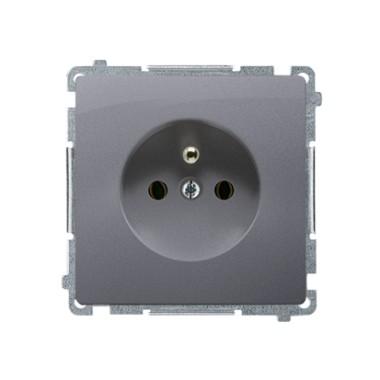 Gniazdo wtyczkowe z uziemieniem (moduł) ~  srebrny mat BMGZ1.01/43
