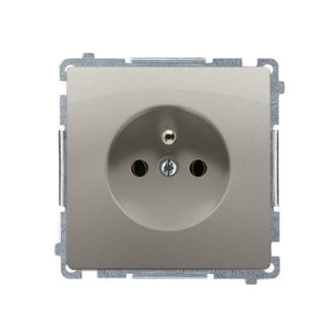 Gniazdo wtyczkowe z uziemieniem (moduł) z przesłonami torów prądowych ~  satynowy BMGZ1Z.01/29