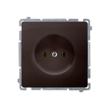 Gniazdo wtyczkowe bez uziemienia (moduł) ~  czekoladowy BMG1.01/47