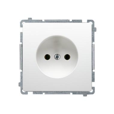 Gniazdo wtyczkowe bez uziemienia (moduł) z przesłonami torów prądowych ~  biały BMG1Z.01/11
