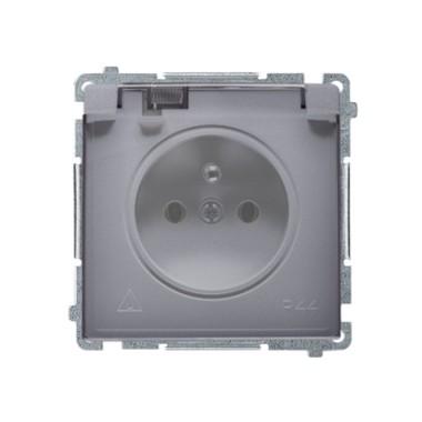 Gniazdo wtyczkowe z uziemieniem bryzgoszczelne IP44 (moduł) ~ . Klapka transparentna, srebrny mat BMGZ1B.01/43A