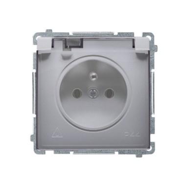 Gniazdo wtyczkowe z uziemieniem z przesł. torów prądowych bryzgoszczelne IP44 (moduł) ~  klapka transp., stal inox BMGZ1BZ.01/21