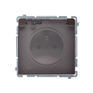 Gniazdo wtyczkowe z uziemieniem z przesł. torów prądowych bryzgoszczelne IP44 (moduł) ~  klapka transp., czekoladowy BMGZ1BZ.01/