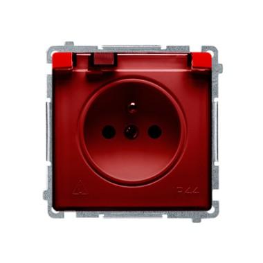Gniazdo wtyczkowe z uziemieniem z przesł. torów prądowych bryzgoszczelne IP44 (moduł) ~  klapka transp., czerwone BMGZ1BZ.01/22A