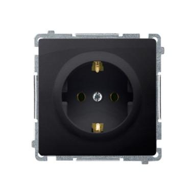 Gniazdo wtyczkowe z uziemieniem Schuko (moduł) z przesłonami torów prądowych16A ~  grafit matowy BMGSZ1Z.01/28