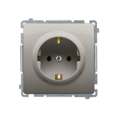 Gniazdo wtyczkowe z uziemieniem Schuko (moduł) z przesłonami torów prądowych16A ~  satynowy BMGSZ1Z.01/29