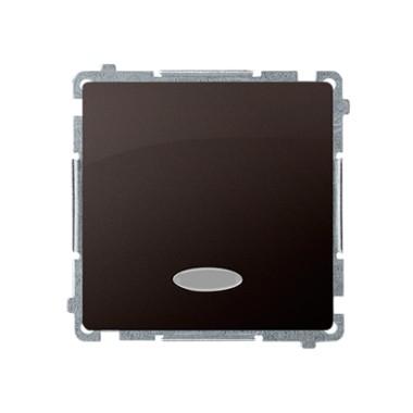 Łącznik jednobiegunowy (moduł) z sygnalizacją załączenia, 10AX, 250V~, szybkozłącza, czekoladowy BMW1ZL.01/47