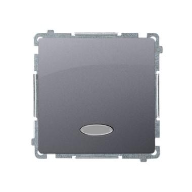 Przycisk pojedynczy zwierny bez piktogramu z podświetleniem (moduł) 10AX, 250V~, szybkozłącza, stal inox BMP1L.01/21