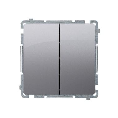 Przycisk podwójny zwierny, dwuobwodowy: 2 wejścia, 2 wyjścia (moduł) 16AX, 250V~, szybkozłącza, stal inox BMP2.01/21