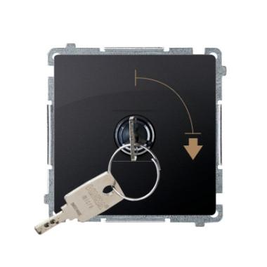 """Łącznik jednobiegunowy z kluczem, 2 pozycyjny, """"0-I"""" styk N/O. Możliwość wyjęcia klucza w każdej pozycji, grafit matowy BMW1K.01"""