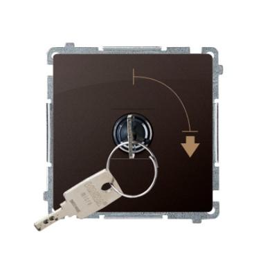 """Łącznik jednobiegunowy z kluczem, 2 pozycyjny, """"0-I"""" styk N/O. Możliwość wyjęcia klucza w każdej pozycji, czekoladowy BMW1K.01/4"""