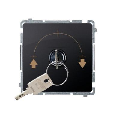 """Łącznik chwilowy żaluzjowy z kluczem, 3 pozycyjny, """"I-0-II"""" 2 styki N/O.  Możliwość wyjęcia klucza tylko w pozycji 0, grafit mat"""