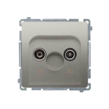 Gniazdo antenowe R-TV przelotowe (moduł), tłumienie 10 dB, satynowy BMZAP10/1.01/29