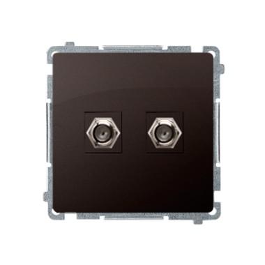 """Gniazdo antenowe typu """"F"""" podwójne (moduł), czekoladowy BMAF2.01/47"""