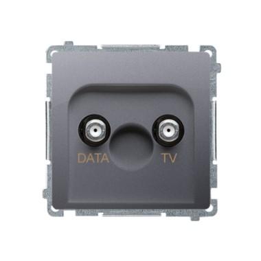 """Gniazdo TV-DATA. Dwa porty wyjściowe typu """"F"""" (moduł). Częstotliwość dla wejścia 5-1000 MHz, stal inox BMAD1.01/21"""