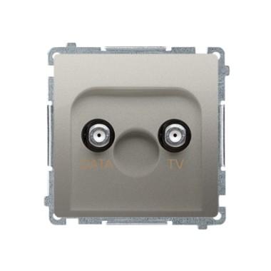 """Gniazdo TV-DATA. Dwa porty wyjściowe typu """"F"""" (moduł). Częstotliwość dla wejścia 5-1000 MHz, satynowy BMAD1.01/29"""