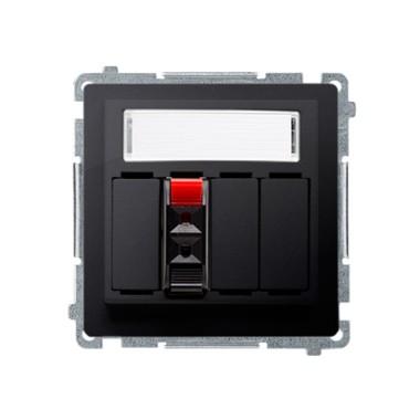 Gniazdo głośnikowe 1-krotne z polem opisowym (moduł). Przekrój przew. dla wejścia i wyjścia 2,5 mm2. Mocowanie na łapki i wkręty