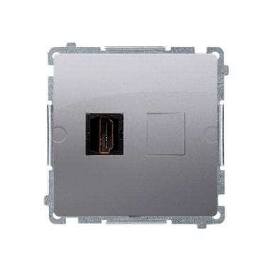 Gniazdo HDMI pojedyncze (moduł), srebrny mat BMGHDMI.01/43