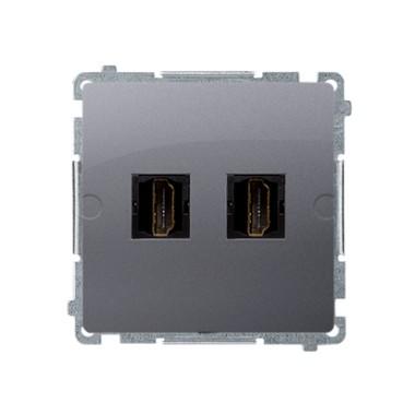 Gniazdo HDMI podwójne (moduł), stal inox BMGHDMI2.01/21