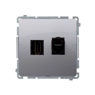 Gniazdo HDMI + RJ45 kat.6. (moduł), srebrny mat BMGHRJ45.01/43