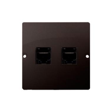 Gniazdo telefoniczne RJ11 podwójne (moduł). Montaż gniazda na wkręty do puszki, czekoladowy BMTF2.02/47