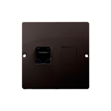 Gniazdo komputerowe RJ45 pojedyncze, kategoria 5e (moduł). Montaż gniazda na wkręty do puszki, czekoladowy BMF51.02/47