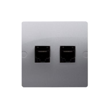 Gniazdo komputerowe RJ45 kat.5e + telefoniczne RJ11 (moduł). Montaż gniazda na wkręty do puszki, srebrny mat BMF5T.02/43