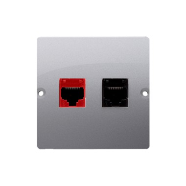 Gniazdo komputerowe RJ45 kat.5e + telefoniczne RJ12 (moduł). Montaż gniazda na wkręty do puszki, stal inox BM5T.02/21