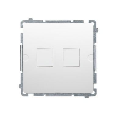 Pokrywa gniazd teleinformatycznych na Keystone płaska podwójna. Montaż na łapki lub wkręty, biały BMPT/11