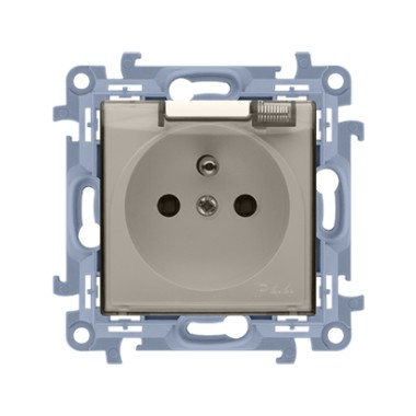 Gniazdo wtyczkowe do wersji IP44 z uszczelką - klapka transparetna (moduł) ~  krem CGZ1B.01/41A