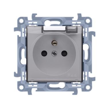 Gniazdo wtyczkowe do wersji IP44 z uszczelką z przesłonami torów prądowych - klapka transparetna (moduł) ~  biały CGZ1BZ.01/11A