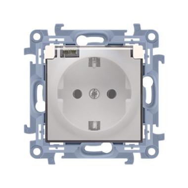 Gniazdo wtyczkowe Schuko do wersji IP44 z uszczelką z przesłonami klapka transparetna (moduł) ~  krem CGSZ1BZ.01/41A