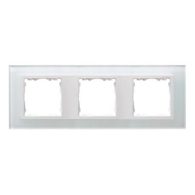 Ramka 3x szkło - biały / ramka pośrednia biała 82637-30
