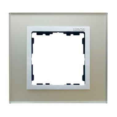 Ramka 1x szkło - srebro / ramka pośrednia aluminium mat 82917-62