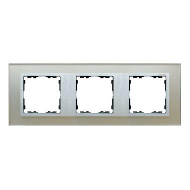 Ramka 3x szkło - srebro / ramka pośrednia aluminium mat 82937-62