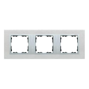 Ramka 3x inox mat / ramka pośrednia aluminium mat 82937-34